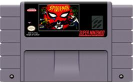Cartridge artwork for Spider-Man: The Animated Series on the Nintendo SNES.