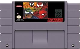 Cartridge artwork for Spider-Man & Venom: Separation Anxiety on the Nintendo SNES.