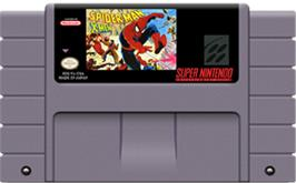 Cartridge artwork for Spider-Man and the X-Men: Arcade's Revenge on the Nintendo SNES.