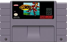 Cartridge artwork for Spirou on the Nintendo SNES.