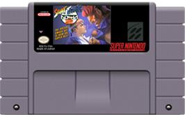 Cartridge artwork for Street Fighter Alpha 2 on the Nintendo SNES.