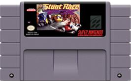 Cartridge artwork for Stunt Race FX on the Nintendo SNES.