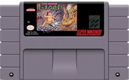 Cartridge artwork for Super Adventure Island on the Nintendo SNES.