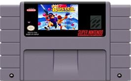 Cartridge artwork for Super Buster Bros. on the Nintendo SNES.