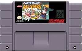 Cartridge artwork for Super Mario All-Stars on the Nintendo SNES.