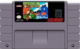Cartridge artwork for Super Mario World 2: Yoshi's Island on the Nintendo SNES.