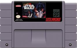Cartridge artwork for Super Star Wars: The Empire Strikes Back on the Nintendo SNES.