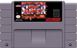 Cartridge artwork for Super Street Fighter II: The New Challengers on the Nintendo SNES.