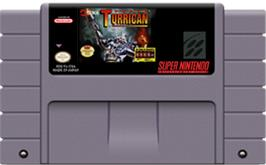 Cartridge artwork for Super Turrican on the Nintendo SNES.