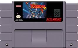 Cartridge artwork for Super Turrican 2 on the Nintendo SNES.
