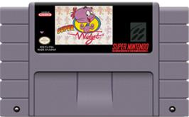 Cartridge artwork for Super Widget on the Nintendo SNES.
