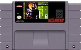 Cartridge artwork for Syndicate on the Nintendo SNES.