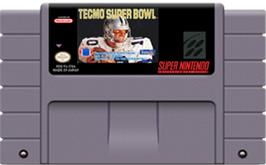 Cartridge artwork for Tecmo Super Bowl on the Nintendo SNES.