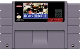 Cartridge artwork for Tecmo Super Bowl III: Final Edition on the Nintendo SNES.
