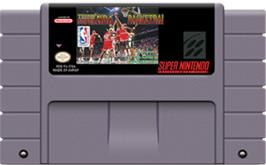 Cartridge artwork for Tecmo Super NBA Basketball on the Nintendo SNES.