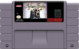 Cartridge artwork for The Addams Family on the Nintendo SNES.