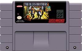 Cartridge artwork for The Blues Brothers: Jukebox Adventure on the Nintendo SNES.