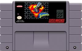 Cartridge artwork for The Death and Return of Superman on the Nintendo SNES.