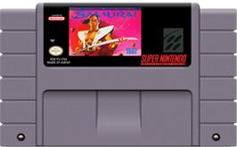 Cartridge artwork for The First Samurai on the Nintendo SNES.
