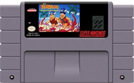 Cartridge artwork for The Flintstones: The Treasure of Sierra Madrock on the Nintendo SNES.