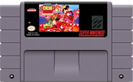 Cartridge artwork for The Great Circus Mystery starring Mickey and Minnie Mouse on the Nintendo SNES.