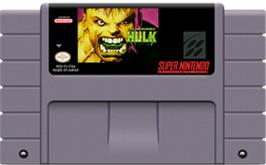 Cartridge artwork for The Incredible Hulk on the Nintendo SNES.