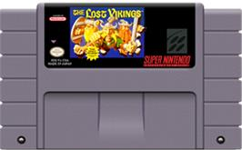 Cartridge artwork for The Lost Vikings on the Nintendo SNES.