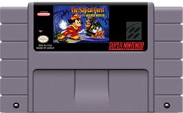 Cartridge artwork for The Magical Quest Starring Mickey Mouse on the Nintendo SNES.
