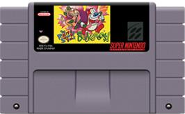 Cartridge artwork for The Ren & Stimpy Show: Buckaroo$! on the Nintendo SNES.