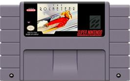 Cartridge artwork for The Rocketeer on the Nintendo SNES.