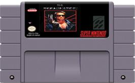 Cartridge artwork for The Terminator on the Nintendo SNES.