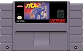 Cartridge artwork for The Tick on the Nintendo SNES.