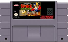 Cartridge artwork for The Twisted Tales of Spike McFang on the Nintendo SNES.