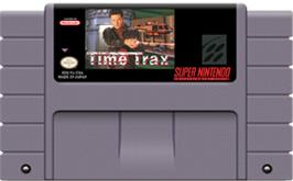 Cartridge artwork for Time Trax on the Nintendo SNES.