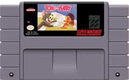 Cartridge artwork for Tom and Jerry on the Nintendo SNES.