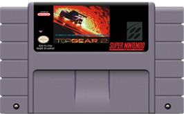 Cartridge artwork for Top Gear 2 on the Nintendo SNES.