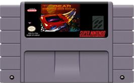 Cartridge artwork for Top Gear 3000 on the Nintendo SNES.
