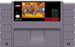 Cartridge artwork for Total Carnage on the Nintendo SNES.