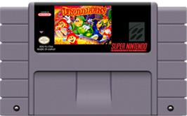 Cartridge artwork for Troddlers on the Nintendo SNES.