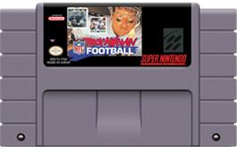 Cartridge artwork for Troy Aikman NFL Football on the Nintendo SNES.