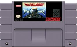 Cartridge artwork for U.N. Squadron on the Nintendo SNES.