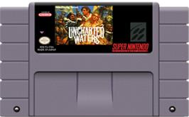 Cartridge artwork for Uncharted Waters on the Nintendo SNES.