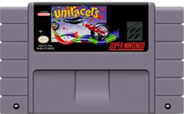 Cartridge artwork for Uniracers on the Nintendo SNES.