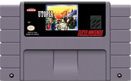 Cartridge artwork for Utopia: The Creation of a Nation on the Nintendo SNES.