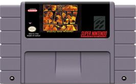 Cartridge artwork for WWF Raw on the Nintendo SNES.