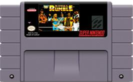 Cartridge artwork for WWF Royal Rumble on the Nintendo SNES.