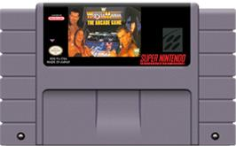 Cartridge artwork for WWF Wrestlemania: The Arcade Game on the Nintendo SNES.
