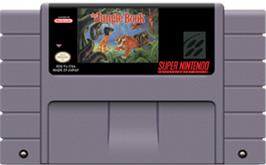 Cartridge artwork for Walt Disney's The Jungle Book on the Nintendo SNES.