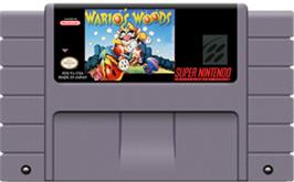 Cartridge artwork for Wario's Woods on the Nintendo SNES.