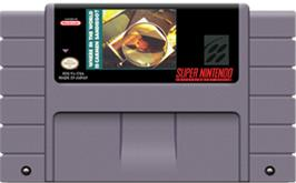 Cartridge artwork for Where in the World is Carmen Sandiego? on the Nintendo SNES.